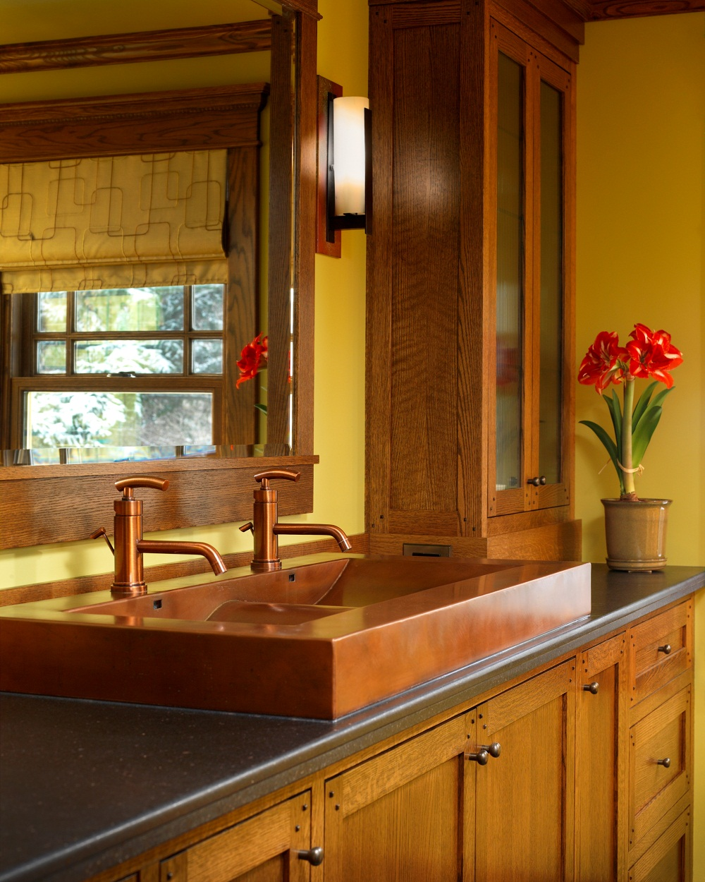 For bathroom decoration with copper bathroom sinks copper bathroom - Copper Trough Skirted Sink 22 X 48
