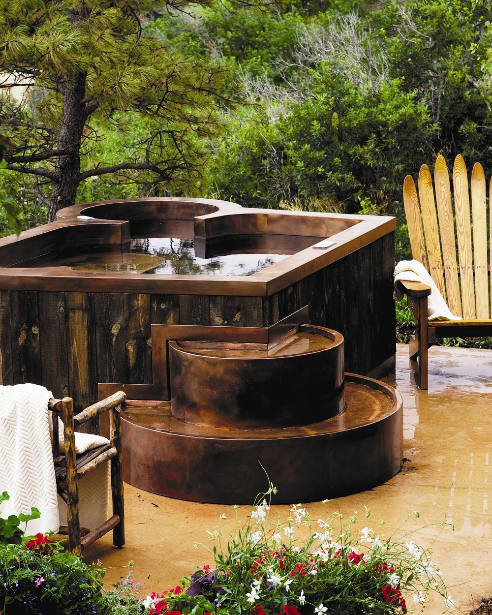 Outdoor Specialty Hot Tub Copper Spa with Private Therapy Seat, Bench Seating, Cool Down Area, Extended Stairway