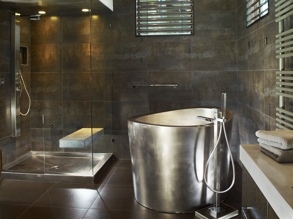 Stainless Steel Japanese Soaking Tub With Matching Stainless Steel Shower  Pan In Background Bath Dimensions: