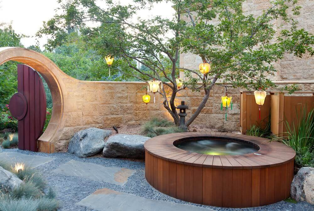 Copper Round Spa With Bench Seating And Led Lighting 84 X 37 Deep