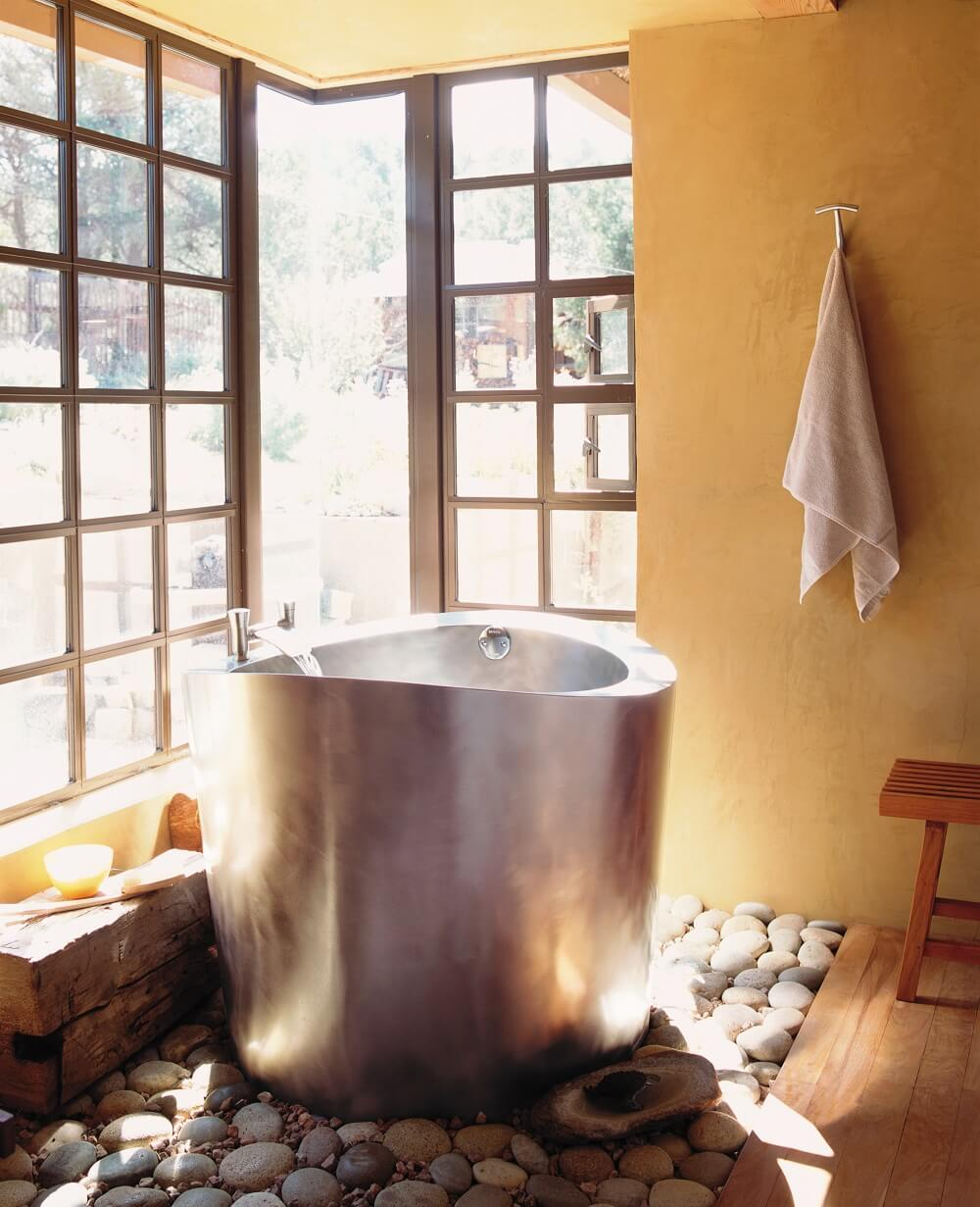 Stainless Steel Circular Japanese Soaking Bath 42 round x 35
