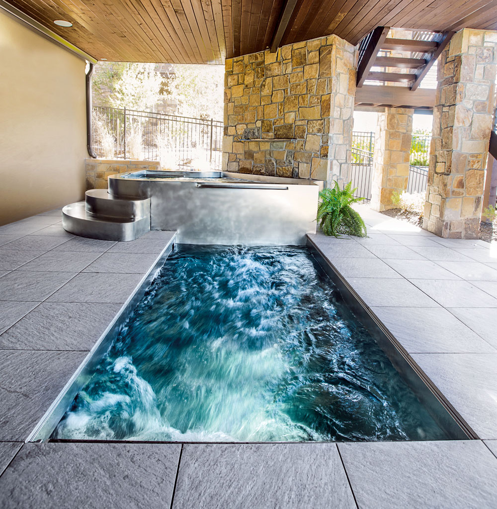 stainless steel swim spa with integrated stainless steel spa and water features 1595 x 82 - Spa Design Images
