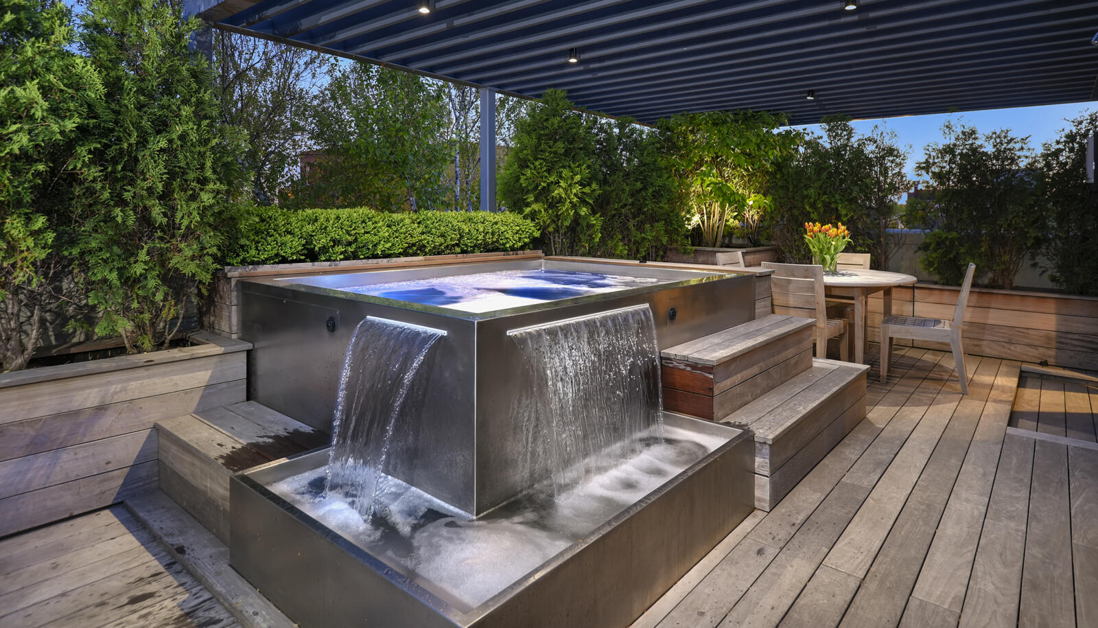 Custom Stainless Steel Roof Top Spa With Interior Stairway, Bench Seating,  2 Separate Water