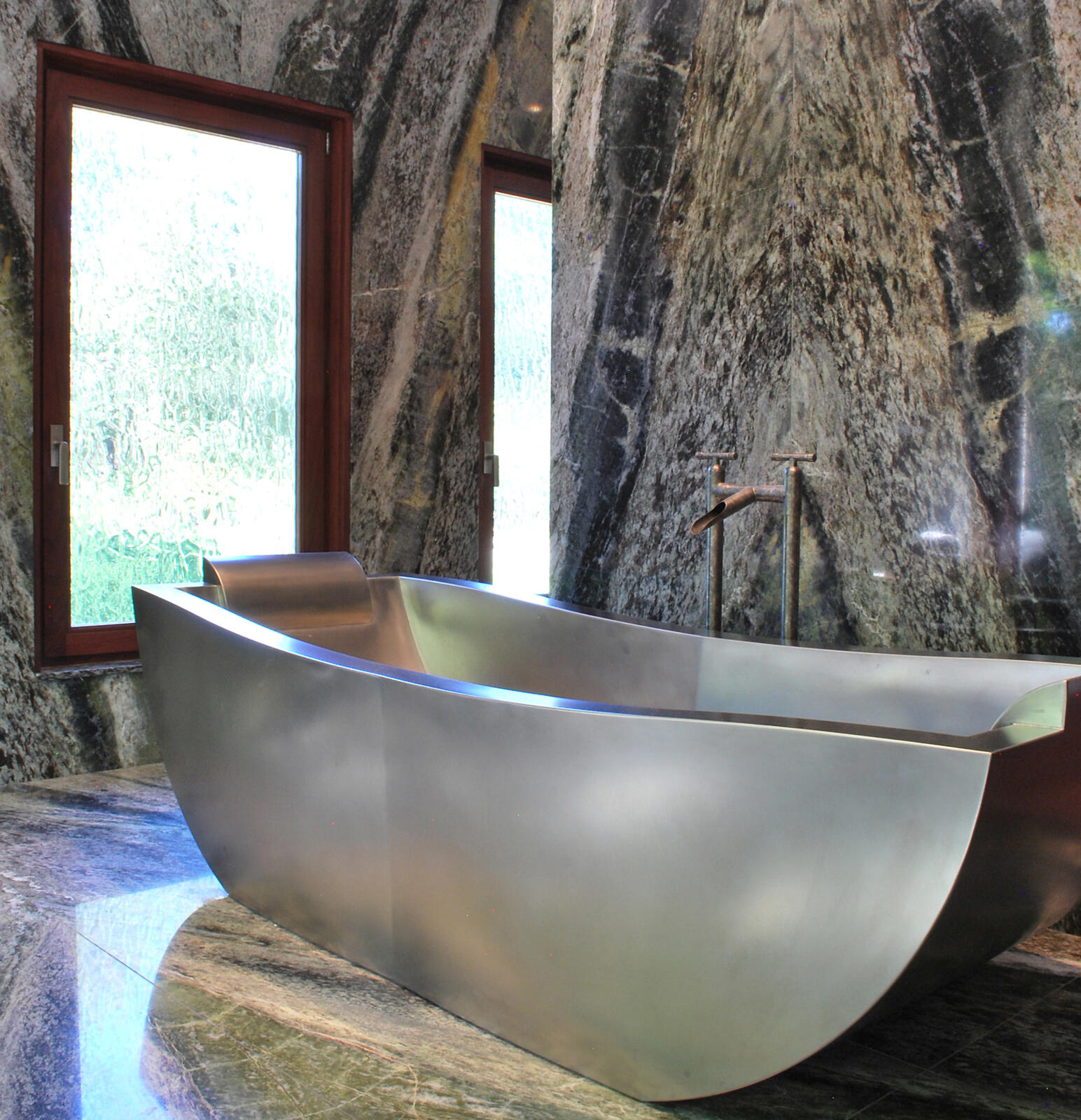 Two Person Stainless Steel Soaking Tub with Custom Overflow and Headrests  80 x 36 Made tubs Diamond Spas